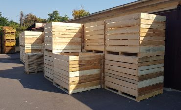 Wooden boxes for potatoes